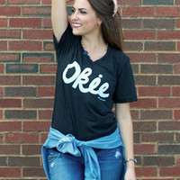 Okie Gingham v-neck t-shirt