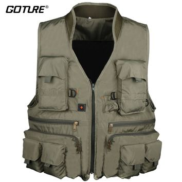 Goture Outdoor Fishing Vest Clothing Multiple Pockets Jacket Mesh Breathable Quick-Dry Hiking Hunting For Fly Fishing X XL XXL