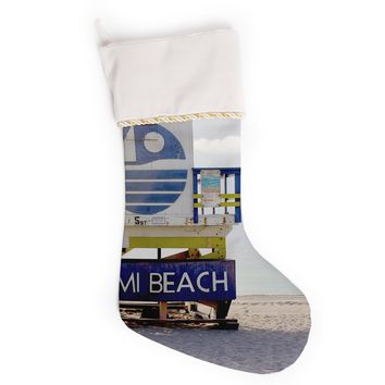 "Philip Brown ""Miami Beach Lifeguard"" Blue Multicolor Christmas Stocking"