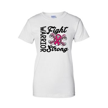 Women's Juniors T Shirt breast cancer awareness Warriors Fight Strong