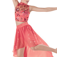 Weissman™ | Sequin Floral Top with High Low Skirt