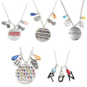 Movie Jewelry Stranger Things Necklace Alphabet Light Wall Monster 11 Letter Snakes Charms Letter Pendant Halloween Jewelry