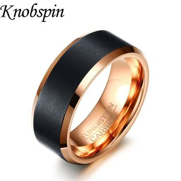 Brand quality Tungsten Ring men Rose gold color Vintage Jewelry trendy engravable Wedding band rings for men US size 7-12 bague