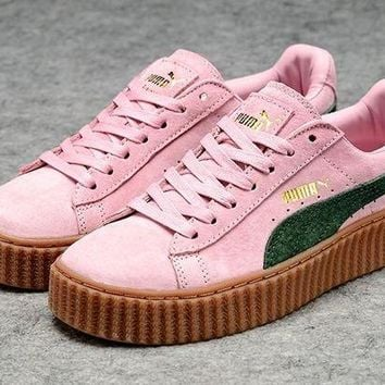 VONEA7H Fenty Rihanna by Puma Creepers Pink Green Suede Women's Shoes