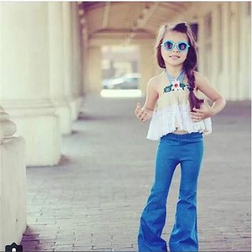 Girls Jeans Pants Blue Toddler Girls Jeans Soft Kids Outdoors Pants Children Children flared pants
