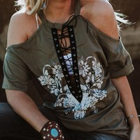 Lace Up Bull Open Shoulder Tee