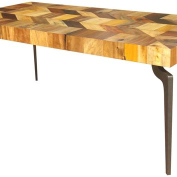 Gajel Dining Table With Metal Legs Reclaimed Wood Iron Sheet Leg