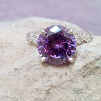 SALE! Prong silver ring,amethyst ring, february birthstone, sterling silver band, crystals ring, engagement ring
