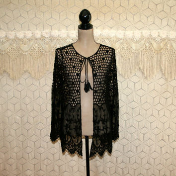 Black Crochet Lace Duster Cardigan Jacket Small Hippie Boho Bohemian Romantic Sheer Womens Clothing