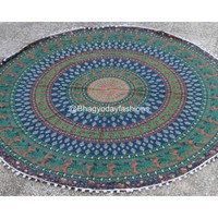 Indian Round Hippie Tapestry in Mandala Design