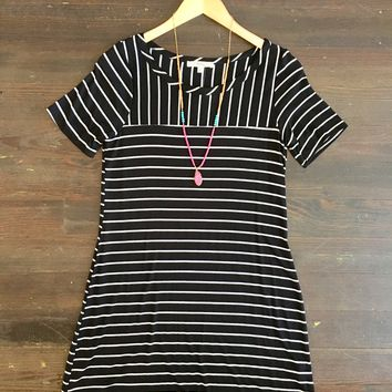 Sign on the Line Striped Dress: Black and White