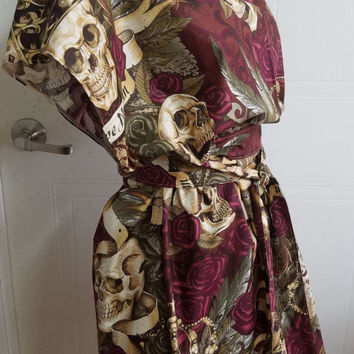 Tunic - dress - with - wrap - belt - skull - skulls - roses - feathers - crown - royal - skull - duggery - Alexander - Henry - print