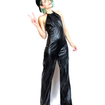 90s Goth Black Faux Leather Jumpsuit Halter Fetish Clubwear Catsuit Bell Bottom Wide Leg Onesuit Outfit (S/M)