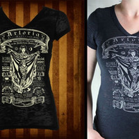 Tattooed Artoria Girls V neck t-shirt by Se7en Deadly