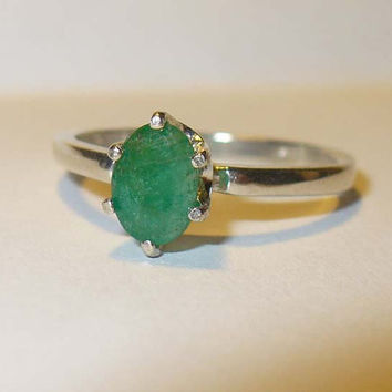 Genuine Emerald Ring in Solid Sterling Silver