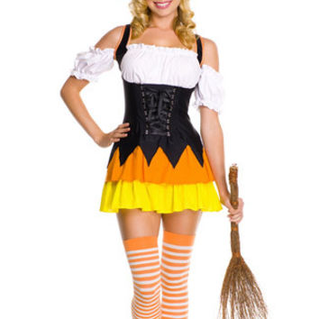 Candy Corn Shoulder Cutout Mini Skater Witch Costume Set