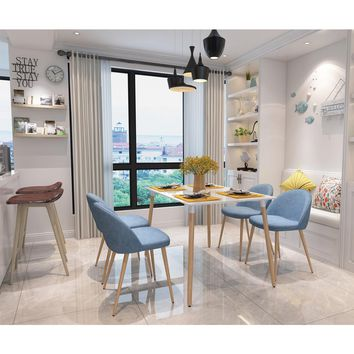 4 Pieces/set Armless Bar Dining Chair Metal Legs Side Chair Fabric Surface in Blue Home Furniture