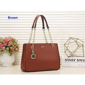 DKNY hot seller of stylish one-shoulder shopping bag in solid color for ladies Brown