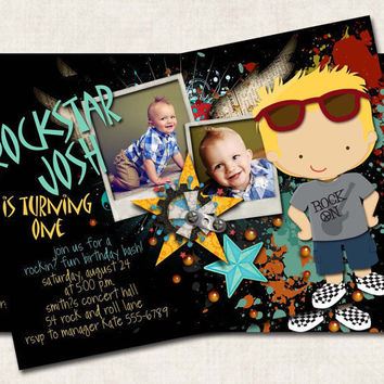 Rockin' Rockstar Birthday Invitation, black, grey teal yellow (Digital File) you-print