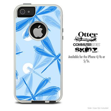 The Blue DragonFly Bundle Skin For The iPhone 4-4s or 5-5s Otterbox Commuter Case