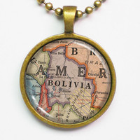 Bolivia Map Necklace -Vintage Map of Bolivia, 1940 -Vintage Country Map Necklace