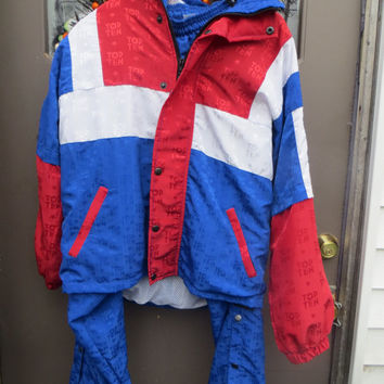 vintage  PATRIOTIC  red white blue stars windbreaker track jogging   suit   sz small
