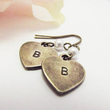 Personalized Bronz Heart Earrings, Initials A-Z, off white pearl, Stamped with the Letter of your choice. Great Gift.