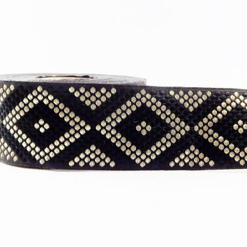 Geometric Dotted Diamond Woven Embroidered Jacquard Trim Ribbon - Black Light Gold - 34mm - 1 Meter  or 3.3 Feet or 1.09 Yards