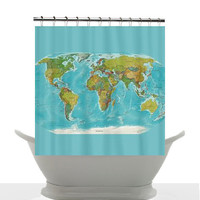 Decorative Shower Curtain - Modern Political and Topographic World Map - Home Decor - Shower - Bathroom - maps - travel theme - teaching
