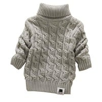 Girls  Turtleneck  Beard  Label  Solid  Sweaters  Sueter