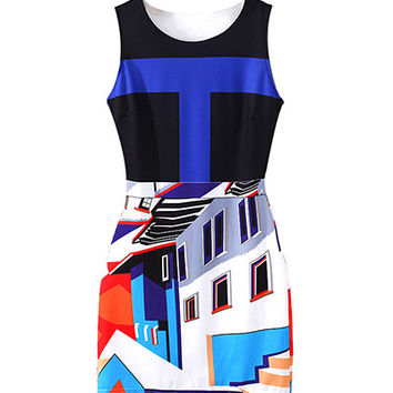 Pattern Print A Line Bodycon Dress