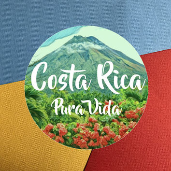 Costa Rica Vinyl Sticker, Pura Vida Sticker, Scrapbooking Hippie Decal Sticker, Bumper Sticker, Laptop Decal, Travel Sticker, Circle
