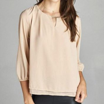 Red 3/4 Sleeve Length Relaxed Fit Blouse