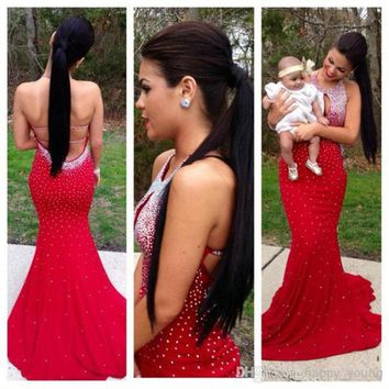 Sexy Red Mermaid Prom Dress 2014 Long Vestido De Festa Longo Slim Backless Formal Evening Gown Party Pageant Dresses