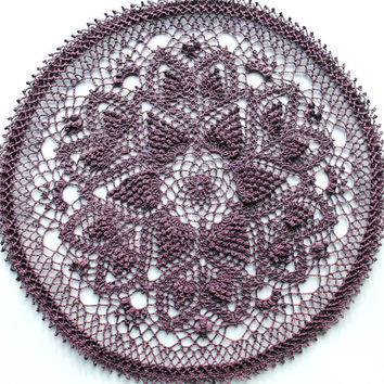 Crochet pineapple doily, muted lavender, spring doily