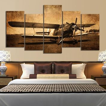 5 Piece Canvas Prints Vintage Aircraft Art Old Plane Picture Wall Decor Paintings Retro Military Aviation Airplane