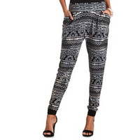 TRIBAL PRINT HIGH-WAISTED HAREM PANTS
