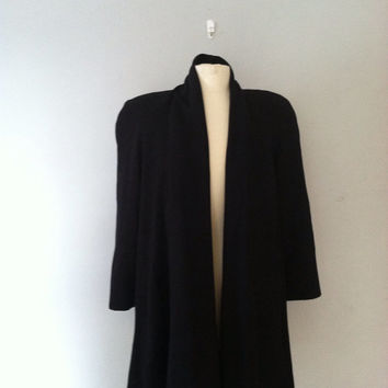 Black cape coat / black shawl collar coat / swing jacket
