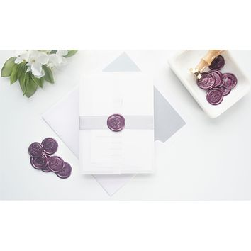 Minimal Purple Vellum and Wax Seal Wedding Invitation - DEPOSIT