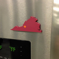 "Virginia Tech Hokies ""State Heart"" magnet, handcrafted wood with official team colors"