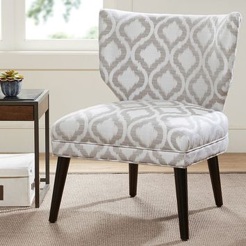 Madison Park Harlyn Quatrefoil Armless Retro Wing Chair (Grey)