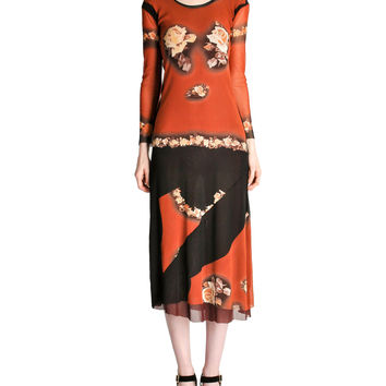 Jean Paul Gaultier Vintage Black & Rust Floral Mesh Dress