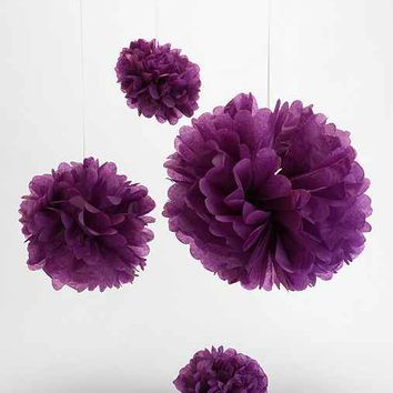 Dress My Cupcake Medium Tissue Paper Pompom Set - Purple One