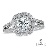 Vera Wang LOVE Collection 2 CT. T.W. Diamond Frame Split Shank Engagement Ring in 14K White Gold
