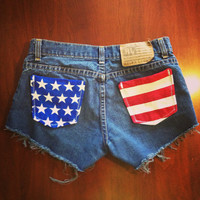 Size 5/6 Vinatge Polo Ralph Lauren Distressed Shorts 4th of July