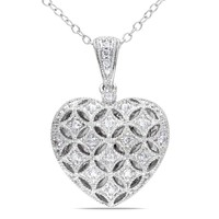 1/7 CT TW Diamond Heart Pendant with Chain in Sterling Silver