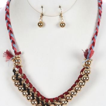 Red Chunky Metalli Bead Braided Yarn Bib Necklace And Earring Set