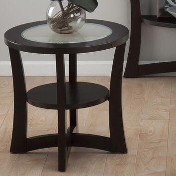 Jofran 347-3 Skylah Round End Table w/ Shelf & Frosted Glass Insert in Espresso