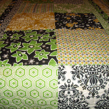 Modern Green, Gold, White and Black Damask Stripes and Squares Quilt Blanket