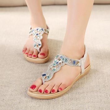 Women sandals comfort flat sandals Rhinestone 2017 women summer fashion beach sandals